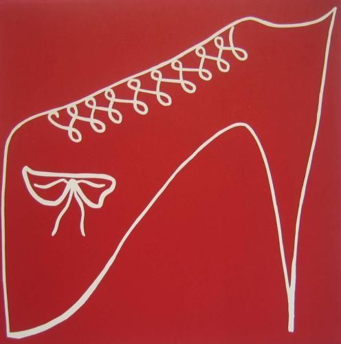 Red shoe Linocut by Jane Bristowe